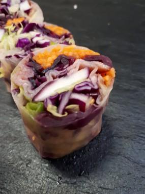 Rouleaux de printemps chou confit et  bacon