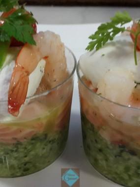 Verrine tartare saumon courgette crevette